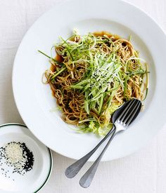 Australian Gourmet Traveller fast spring recipe for soba noodles with Chinese cabbage, cucumber and young ginger.