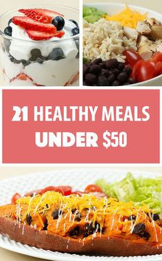 There's a common misconception that eating healthy is expensive. After coming up with a grocery list and doing some savvy shopping, we came up with 21 healthy meals for under $50. That's three single-serving meals a day for seven days to keep your wallet AND your belly happy!   Here's How To Make 21 Healthy Meals For Under $50