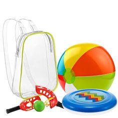 """Детский игровой набор """"На пляже"""" Предназначен для детей от 3 лет. В наборе: летающая тарелка, надувной мяч, ловушка (2 шт.) и мяч, упакованные в прозрачный чехол с плечевыми ремнями. Размеры: 22x27х28 см (чехол); 27х10х7 см (ловушка); 30 см (диаметр надувного мяча); 21 см (диаметр летающей тарелки). Материал: ПВХ. Произведено в Китае. Код для заказа. 77085 Цена 499 руб"""