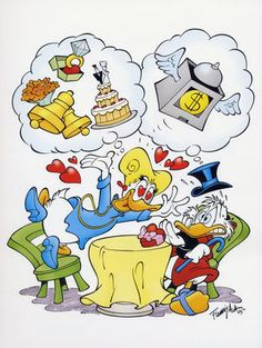 Brigitta dreams of marrying Scrooge. While Scrooge has a nightmare about losing all his money. Disney Duck, Disney Love, Dagobert Duck, Uncle Scrooge, Scrooge Mcduck, Duck Tales, Disney Cartoons, Cartoon Kids, Disney Stuff