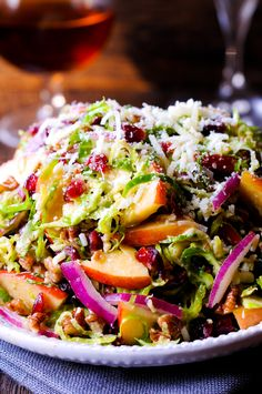 Honey Mustard Brussels Sprout Salad with Cranberries, Apples and Pecans Wine Recipes, Salad Recipes, Healthy Recipes, Healthy Food, Brussel Sprout Salad, Brussels Sprout, Pasta, Side Salad, Holiday Dinner