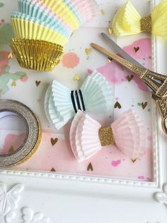 Pretty cupcake wrapper bowties by @sarahbargo for @sugarmaplepaperco using the Cake For Breakfast Kit!