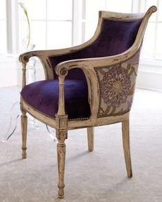 """Old Hickory Tannery """"Dahlia Purple"""" Chair: Regal purple velvet inside and coordinating floral velvet outside make this chair gorgeous from any angle. Cool Furniture, Furniture Design, Chair Design, Antique Furniture, Painted Furniture, Traditional Chairs, Traditional Kitchens, Traditional Bedroom, Home Decor"""