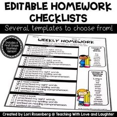 I created these to use as weekly homework checklists. You can tell the children what to work on each day or they can pick and choose, based on their needs. These weekly homework checklists will help parents see what the children need to accomplish each day.