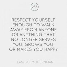 respect yourself.