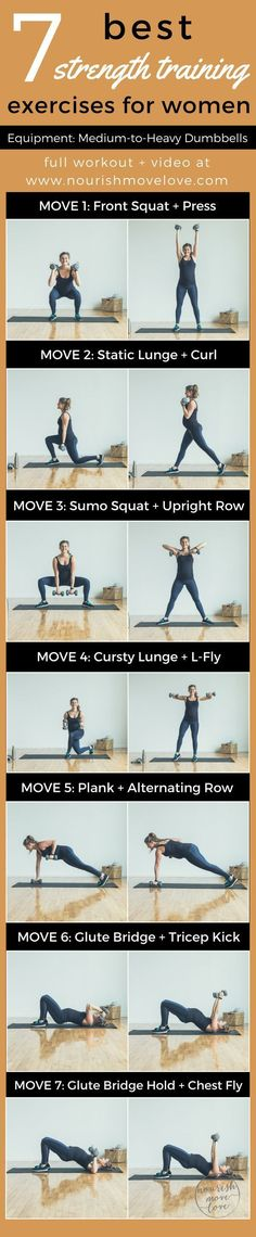 7 Best Strength Training Exercises for Women. An at-home total body workout challenge. 30-minute workout. Squat, press, lunge, curl, row, kick, fly; bicep, back, tricep, chest, glutes | www.nourishmovelove.com #pregnancyandflying, #benchpressweighttraining