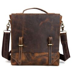 Vintage Crazy Horse Leather Briefcase / Messenger Satchel