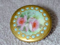 Antique Victorian Hand Painted Porcelain Stud Button Pink Roses Raised Blue Dots
