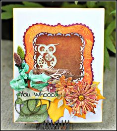 """#cheeryld #snapwhiz I've got a fun card to share with you that I affectionately refer to as my """"peek-a-boo"""" window card.  I used my French Flair shaped stacker dies to create the window opening in my card. Dies used: Owls with Gears - B383; Sentiment Frame # 1 - B189; French Flair Silver - L12; French Flair Scalloped - XL13 Horizon French Flair Boutique Stacker - DL271; Embellishment 2 - B188; Ivy Strip - B304; Medium Lollipop Fringe Cutie 3 - B392; (Continued)…"""