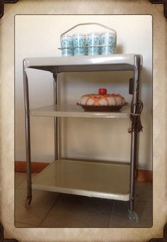 Vintage 1950's Beige Cosco Serving Cart~3 Shelf~ Electric Outlet~ Kitchen…