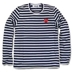 HOT 2014 COMME DES GARCONS CDG PLAY STRIPED LONG SLEEVE NAVY BLUE RED HEART  #CDG #BasicTee