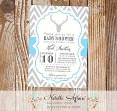 Gray and Ice Blue Chevron with Deer Head and Antlers Silhouette Baby Boy Shower Invitation - colors and wording can be changed by NotableAffairs