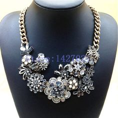 2014 New Vintage Metal Exaggerated Punk Resin Drop Flowers Alloy Chunky ChokerStatement Necklace Fashion Jewelry For Women M17-in Power Necklaces from Jewelry on Aliexpress.com | Alibaba Group