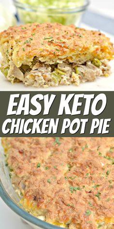 Low Carb Keto, Low Carb Recipes, Diet Recipes, Cooking Recipes, Recipes Dinner, Cooking Tips, Easy Chicken Pot Pie, Keto Chicken, Chicken Recipes