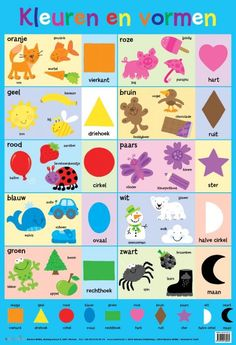 Wallchart - My First Colours and Shapes Book Activities, Toddler Activities, Toddler Chart, Toddler Speech, Shape Chart, Learn Dutch, Dutch Language, Shapes For Kids, Preschool Colors