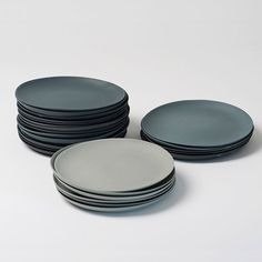 Plates porcelain gray set by GoldenBiscotti on Etsy https://www.etsy.com/listing/156920367/plates-porcelain-gray-set