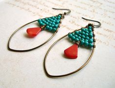 Turquoise Red Coral Earrings, Brass Coated Copper Oval Hoops
