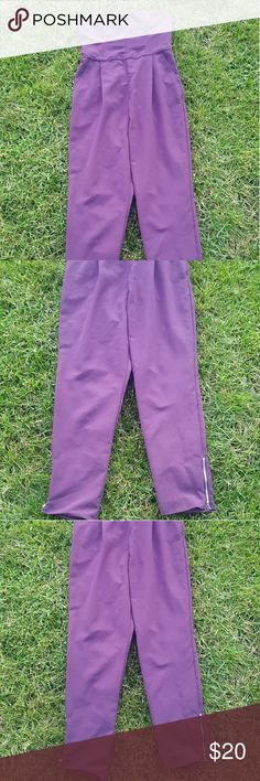 {Rachel Roy} eggplant colored jumpsuit Rachel Rachel Roy eggplant colored jumpsuit. Size 12. Features a sweetheart neckline and silver ankle zippers. Zipper at the side. 100% polyester. In flawless condition. RACHEL Rachel Roy Pants Jumpsuits & Rompers