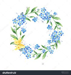 stock-photo-watercolor-forget-me-not-wreath-natural-round-frame-with-blossom-hand-drawn-blue-flowers-on-white-385886080.jpg (1500×1600)