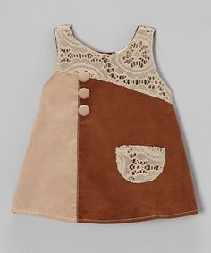 Take a look at this Brown Lace Patch Corduroy Dress - Toddler & Girls by the Silly Sissy on #zulily today!