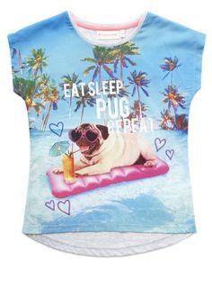 Girls Pug Surf T-Shirt - multi