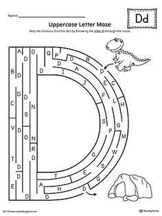 Uppercase Letter D Maze Worksheet