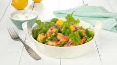 Oppskrift på Salat med ingefær- og chilistekte scampi