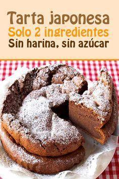 Tarta japonesa. Solo 2 ingredientes!! Sin harina, sin azúcar!!   https://lomejordelaweb.es