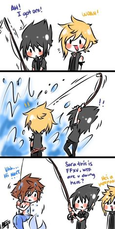 Sora Prompto amd Noctis ~ hahah omg!!! I love this!! Can this be how they meet in KH3