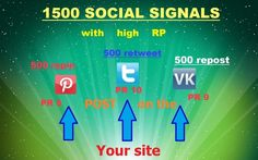 2For only 5$, spaiderserver will give you 1500 social signals with PR8 to PR10. In this unique project, you will get 1500 social signals with high PR8-10 on your site. We host your site to Pinterest (PR8), VKontakte (PR9) and Twitter (PR10), and within 5 days of real people doing Repin, repost and retveet your site. For 5 days the real people (not bots) make 500 Repin, 500 and 500 retveet repost. At the end of our work we provide a report with links to the posts of your site