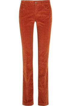 Burnt-orange stretch-cotton corduroy Button and concealed zip fastening at front 98% cotton, 2% elastane; trim: 100% leather (Calf) Machine wash Designer color: Burnt Copper