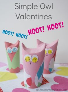 Have fun making these simple owl valentines - Perfect craft for kids to make and give to friends and classmates this Valentine's Day.