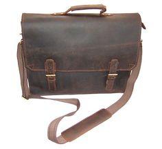 "ModernManBags.com - ""Dubai 2"" Men's Top Grain Distressed Leather Laptop Briefcase,"