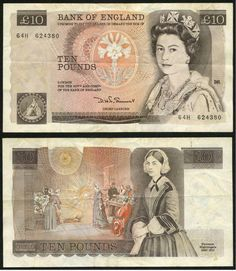 Early 1980s Great Britain 10 Pounds Queen Elizabeth Florence Nightingale Signed Somerset Prefix 64H