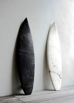 What a neat idea. I love marble sculpture but hate the often twee subject matter. This is much cooler - a surfboard from marble. Instantly recognisable! Obviously, don't try this in the water ...