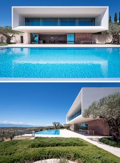 A large infinity pool runs the length of this modern house, while a large deck provides plenty of space for entertaining. Modern Villa Design, Modern Architecture Design, Garage Guest House, Modern Tropical House, Dream House Exterior, Dream Home Design, Exterior Design, Bungalow, Space