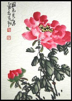chinese brush painting peony                                                                                                                                                                                 More