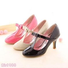 Sweet Womens Patent Leather T-Strap Mary Janes Dress Shoes High Heels Pumps Size
