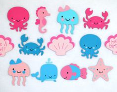 Listing is for medium Purple and Teal Under the Sea die cuts. Choose from Whale Jellyfish Fish Seahorse Octopus Crab Shell Starfish and