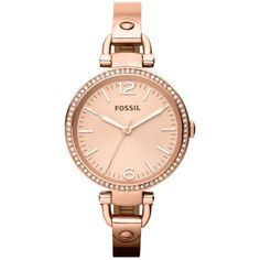Fossil Watch, Women's Georgia Rose Gold Tone Stainless Steel Bangle... ($135) ❤ liked on Polyvore