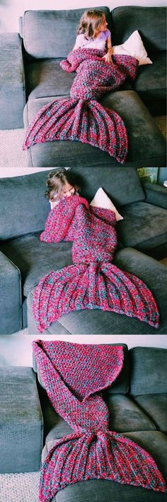 Who can make this for Baby girl??!! Artist Playfully Redesigns Cozy Blankets As Crocheted Mermaid Tails