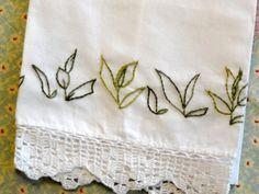 Hand Embroidered Linen Tea Towel Green Tea Leaves Finished Needlework | countrygarden - Needlecraft on ArtFire