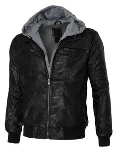 ee497f613a LE3NO Mens Faux Leather Zip Up Moto Jacket with Fleece Lining (CLEARANCE)