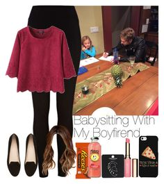 """""""»Babysitting With My Boyfriend."""" by storyofmylife1danita-scream ❤ liked on Polyvore featuring River Island, Witchery, LG, Clarins and Topshop"""