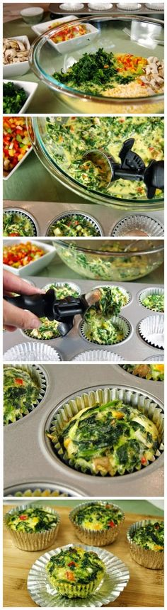 Veggie Quiche Cups To-Go. I would skip the onion and mushrooms, but they would be a great way to get healthy nutrients in the morning without the fuss of making them each day!