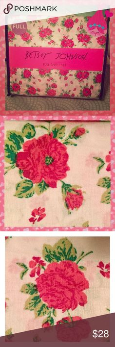 NIP Betsey Johnson Pink Flowers FULL Sheet Set  NEW in Package Betsey Johnson Fuchsia Flowers Forever Size FULL Sheet Set 4 piece!   White background with bold pink floral print.   Set includes a flat sheet, fitted sheet, and 2 standard pillowcases.   Fitted sheet pocket depth: 15 inches Fully elasticized fitted sheet 100% polyester microfiber machine washable  Full Dimensions: Fitted sheet: 54 inches wide x 75 inches long Flat sheet: 78 inches wide x 92 inches long Pillowcase: 20 inches…