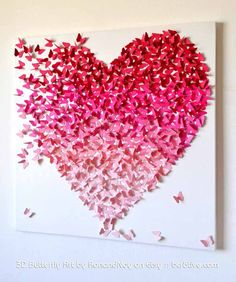 Pink Ombre Butterfly Heart/ Butterfly Art / Nursery Decor /Girls Room Art / Engagement / Wedding Gift /Romantic Art - Made to Order via Etsy Nursery Wall Art, Nursery Decor, Wall Decor, Art Romantique, Butterfly Wall Art, Pink Butterfly, Butterfly Decorations, Creation Deco, Diy Projects To Try