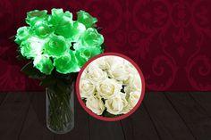 6 'Glow in the Dark' White Roses