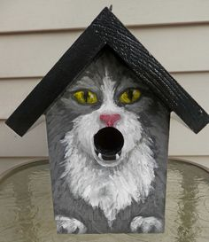 BIRD HOUSE Wood Hand Painted for the Cat Lover by GiftsbySuzanne, $37.00