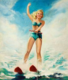 """Not a """"surfing"""" pin-up girl, but she's on water, and it's still an awesome painting! #pinup #mellbella www.mellbella.com"""